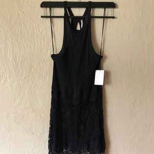 NWT Free People Black Ribbed Halter + Lace Dress S